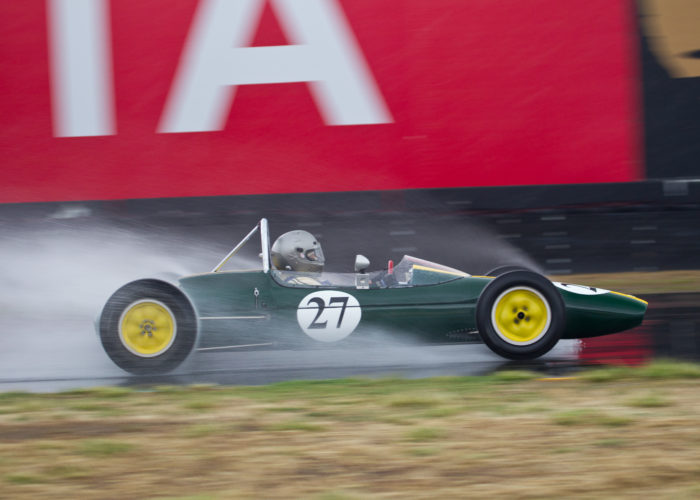 Checkered Past Racing's Chris Locke races the Lotus 27 in pouring rain at Sonoma Raceway