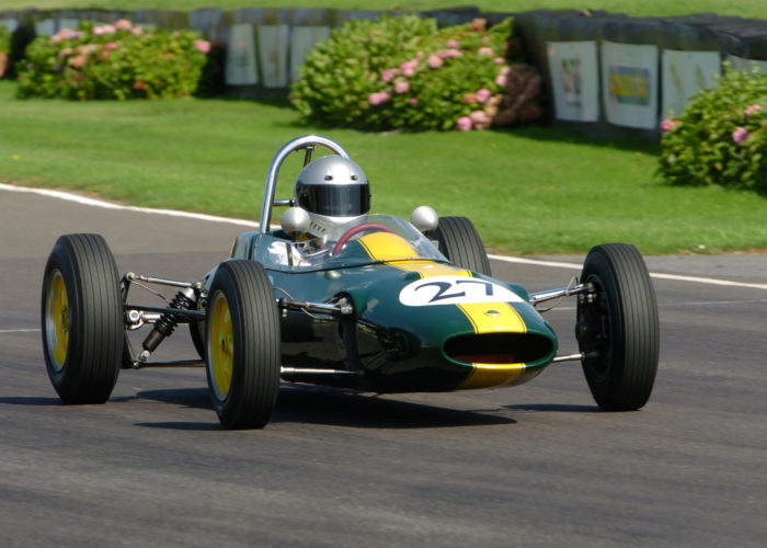 Checkered Past Racing's Chris Locke races the Lotus 27 at the Goodwood Revival