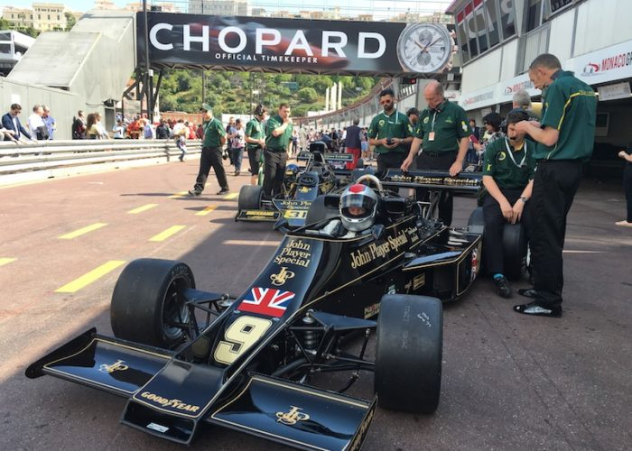 Checkered Past Racing's Chris Locke prepares to qualify the 1976 Lotus 77 at Monaco with the help of Classic Team Lotus