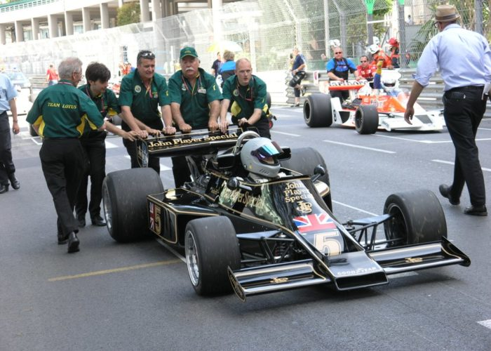 Classic Team Lotus wheels Checkered Past Racing's 1976 Lotus 77 to the grid at Monaco