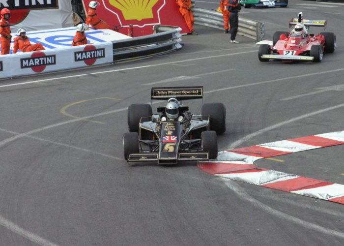 Checkered Past Racing's Chris Locke races the 1976 Lotus 77 at Monaco