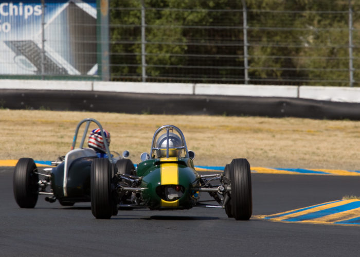 Checkered Past Racing's Chris Locke races the Lotus 27 at the Wine Counrty Classic