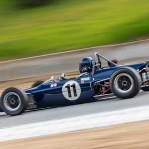 Checkered Past Racing's Chris Locke races the 1969 Merlyn Formula Ford at Laguna Seca